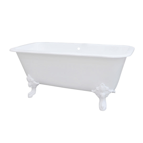 Aqua Eden 67″ Cast Iron Square Double Ended Clawfoot Tub w/ Feet No Faucet Holes-VCTQND6732NLW - The Hardware Supply