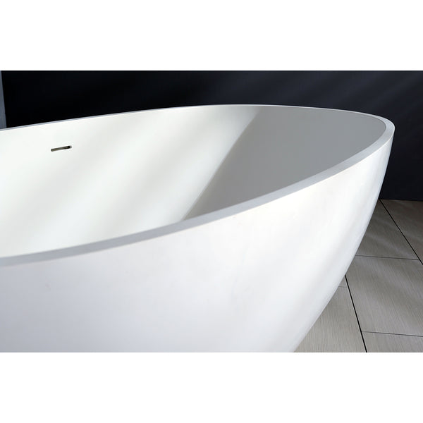 Kingston Brass Aqua Eden 65-Inch Solid Surface Matte Stone Freestanding Oval Tub With Drain, Matte White-VRTRS653123 - The Hardware Supply