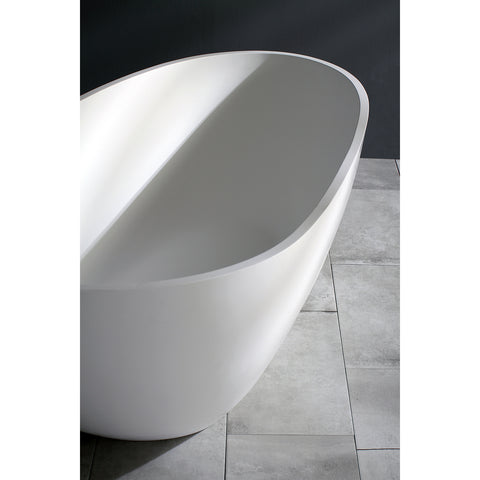 Kingston Brass Aqua Eden 67-Inch Solid Surface Matte Stone Freestanding Tub With Drain, Matte White-VRTRS673422 - The Hardware Supply