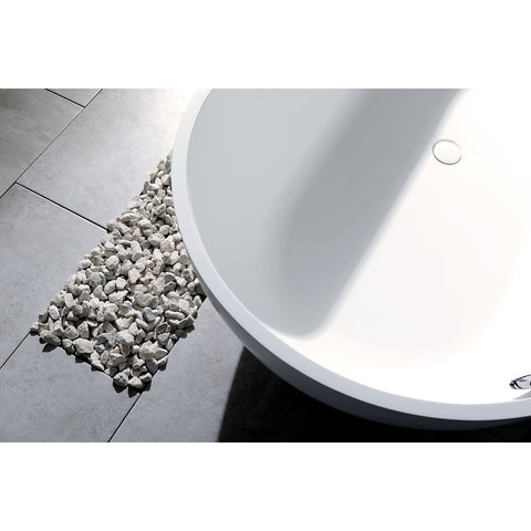 Kingston Brass Aqua Eden 70-Inch Solid Surface Matte Stone Freestanding Oval Tub With Drain, Matte White-VRTRS703520 - The Hardware Supply