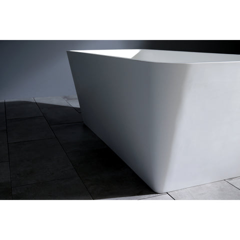 Kingston Brass Aqua Eden 59-Inch Solid Surface Matte Stone Freestanding Rectangular Tub With Drain, Matte White-VRTSQ592722 - The Hardware Supply