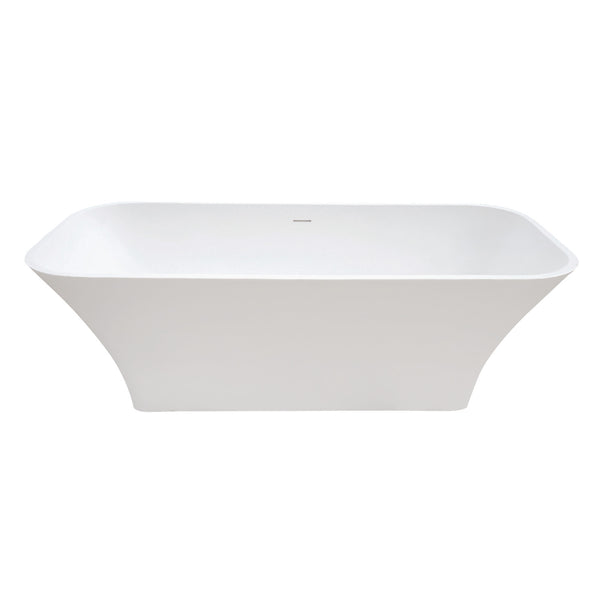 Aqua Eden 68-Inch Solid Surface White Stone Freestanding Tub With Drain-VRTSQ683222 - The Hardware Supply