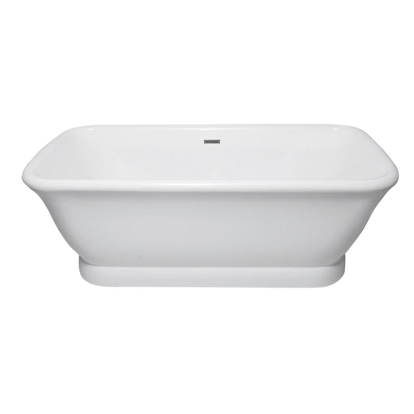 Aqua Eden 71-Inch Acrylic Pedestal Double Ended Tub with Drain, White-VTDE713524 - The Hardware Supply