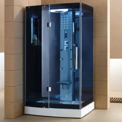 "Mesa Blue Glass Steam Shower 47"" x 35"" x 85"" WS-300A - The Hardware Supply"