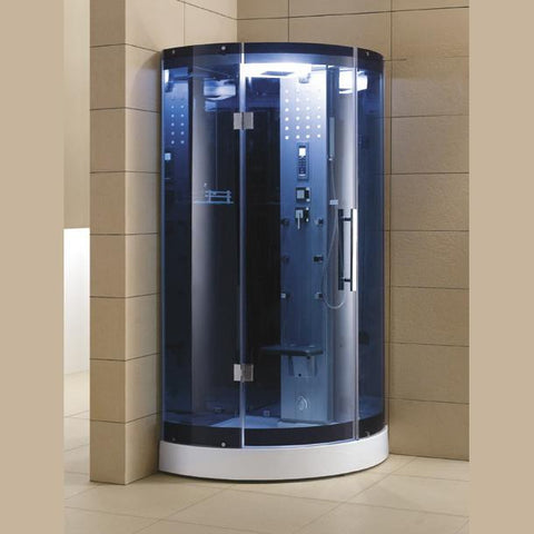 "Mesa Blue Glass Steam Shower 38"" x 38"" x 85"" WS-302A - The Hardware Supply"