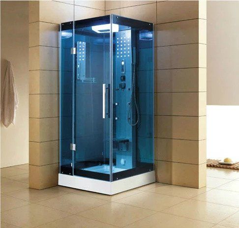 "Mesa Blue Glass Steam Shower 32"" x 32"" x 85"" WS-303A - The Hardware Supply"