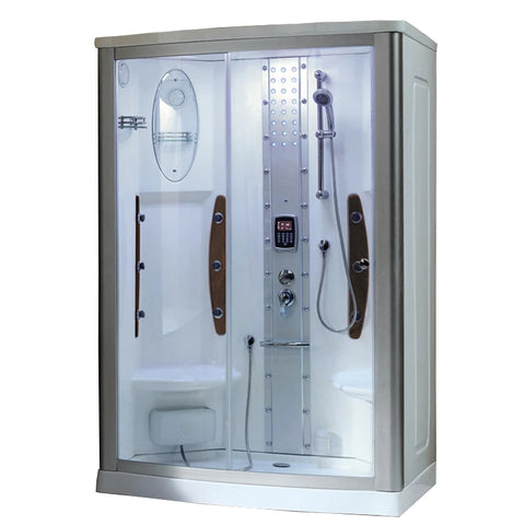 "Mesa Chrome Steam Shower 54"" x 35"" x 85"" WS-803A - The Hardware Supply"
