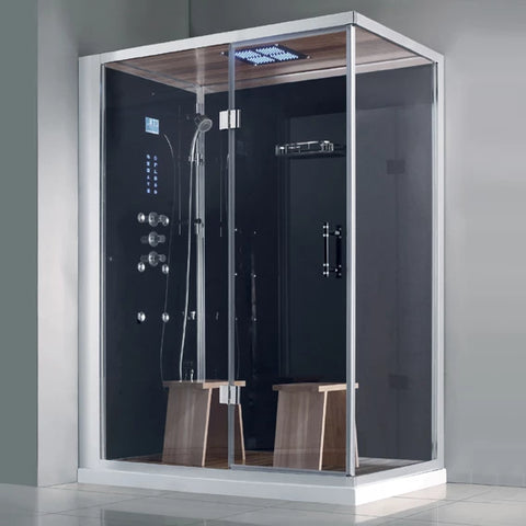 "Athena Steam Shower Black 59"" x 36"" x 89"" WS-141 - The Hardware Supply"