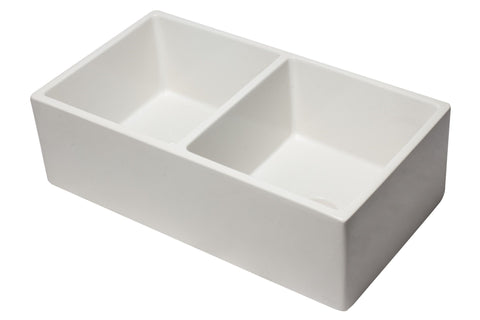 "ALFI Reversible Double Fireclay Farm Kitchen Sink 33"" AB3318DB - The Hardware Supply"