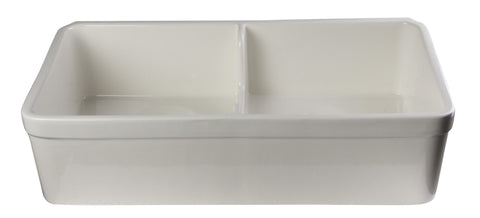 ALFI Double Bowl Fireclay Farmhouse Apron Front Kitchen Sink AB5123 - The Hardware Supply