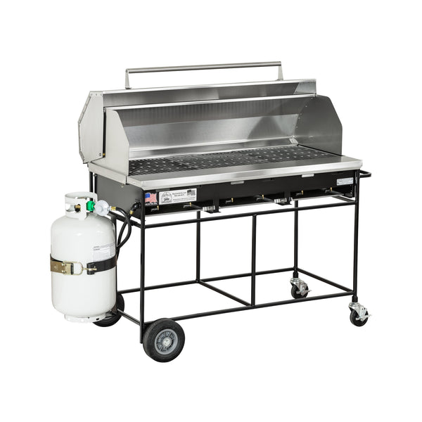 Big John A3CC Country Club Gas Grill with Cast Iron Grates, Hood, Tank, and Tank Holder 300131-LPCIPKGHOOD - The Hardware Supply
