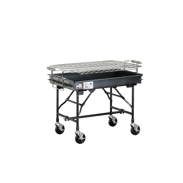 Big John M-13FB Charcoal Grill with Folding Legs, Casters, Wheel Locks, and a Leg Brace 100134APKG - The Hardware Supply