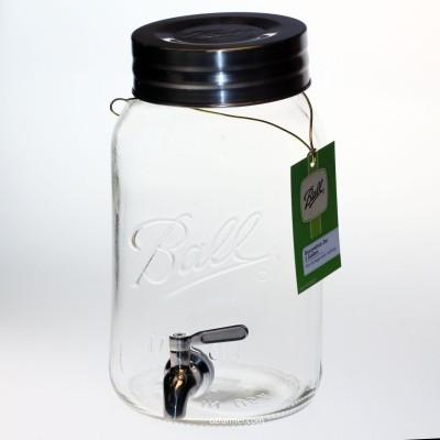 Ball Mason Glass Jar round 4.0 Litre with push top lid and solid chromed brass tap - food grade