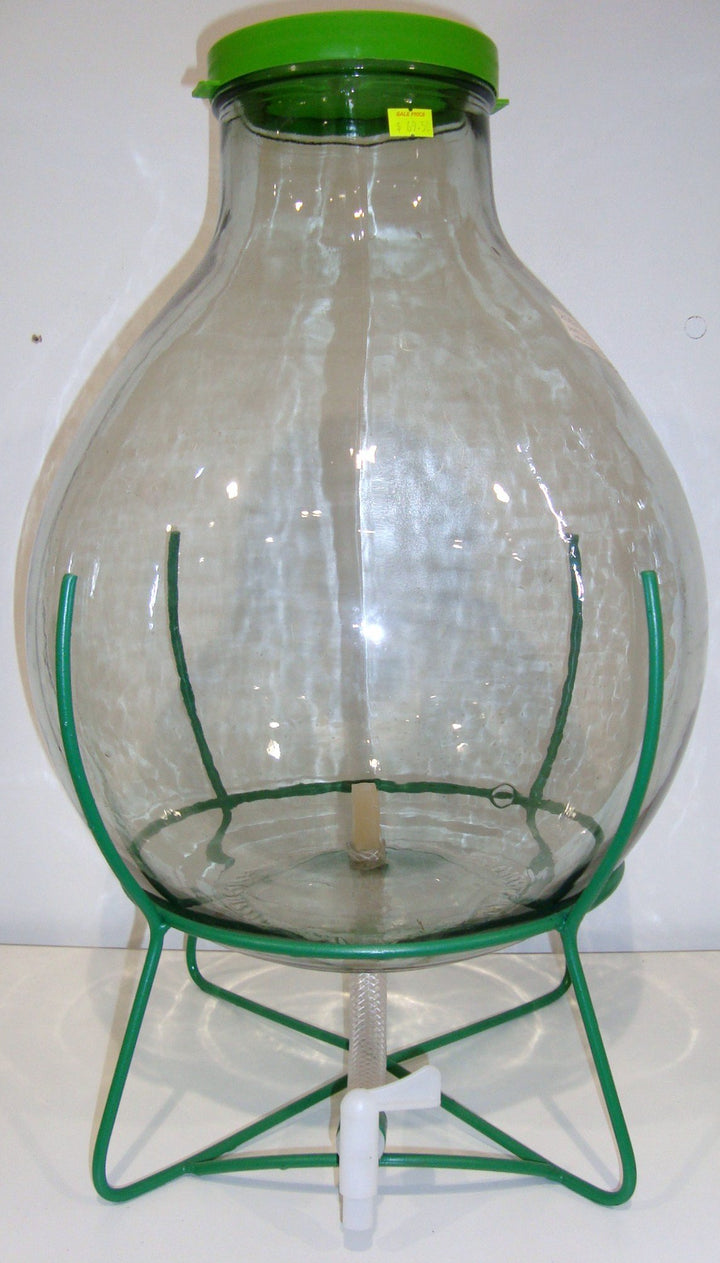 Demijohn 10Lt Wide Neck With Iron Frame & Tap