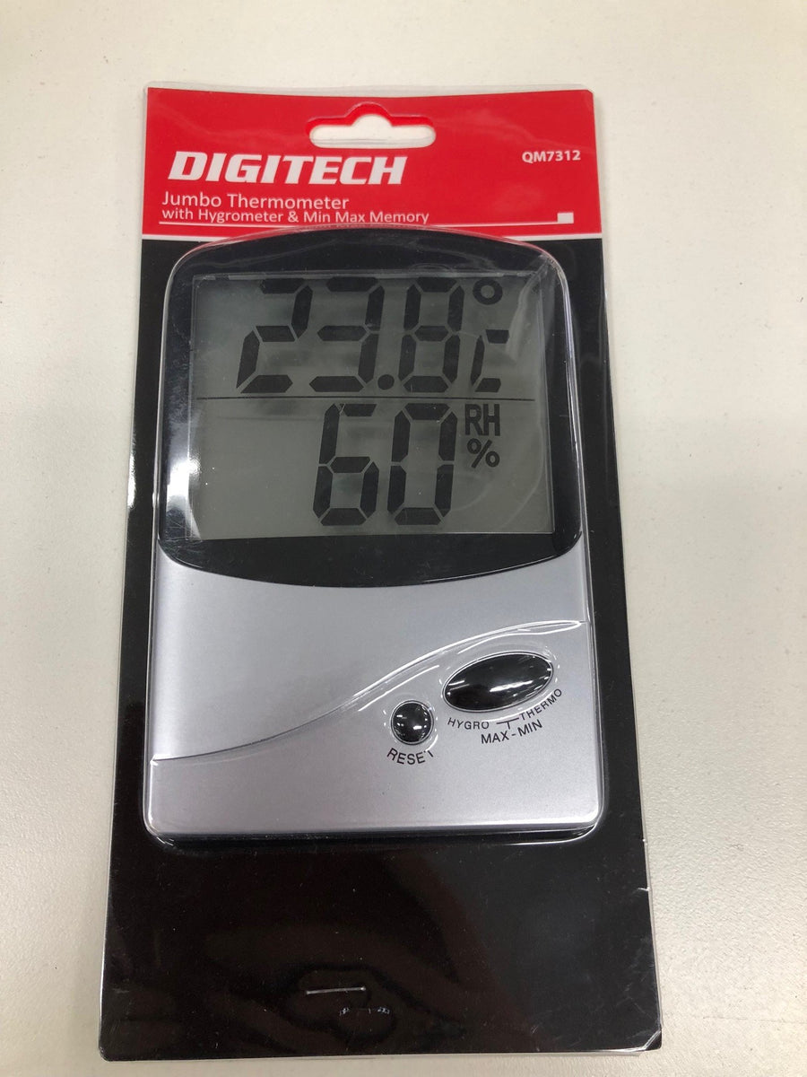 Thermometer & Hygrometer Measures Temperature Humidity Jumbo LCD Display