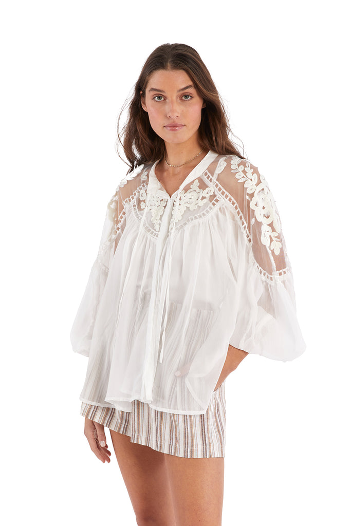 EMBROIDERED YOLK BLOUSE - WHITE