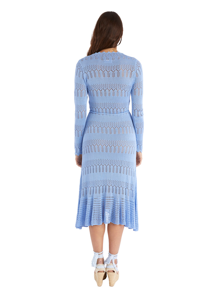 KNIT MIDI DRESS - SKY BLUE