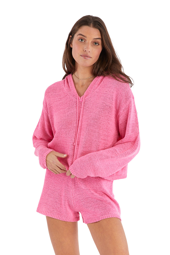 KNIT HOODIE - COTTON CANDY PINK