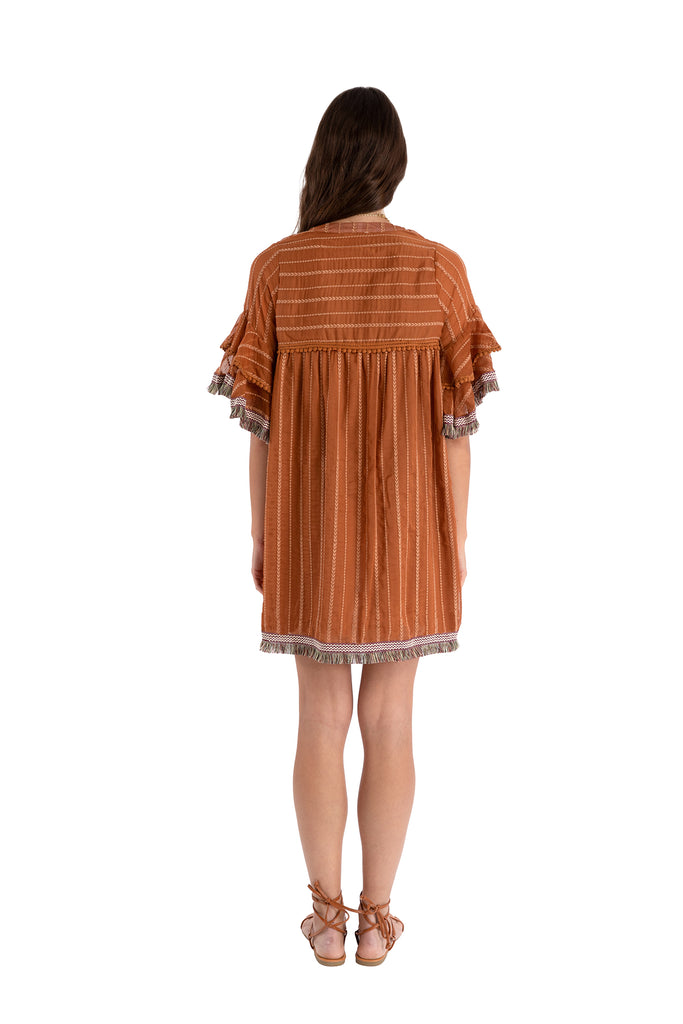 EMBROIDERED DRESS - TERRACOTTA