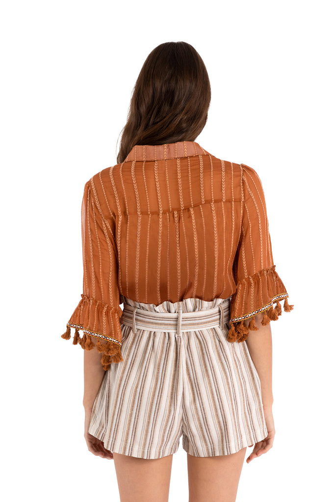 EMBROIDERED FRINGE BLOUSE - TERRACOTTA
