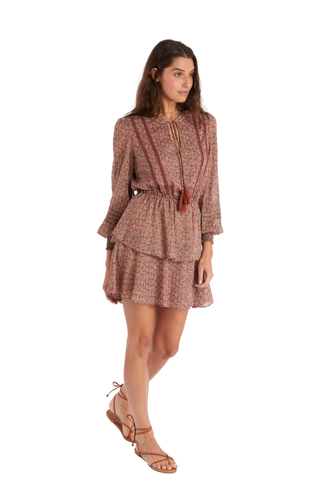 TIERED LONG SLEEVE DRESS - SPICE PAISLEY
