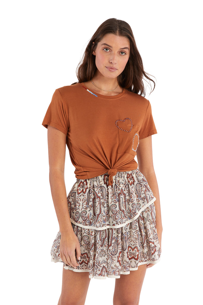 PAISLEY PRINT TIERED MINI SKIRT - RUST PRINT