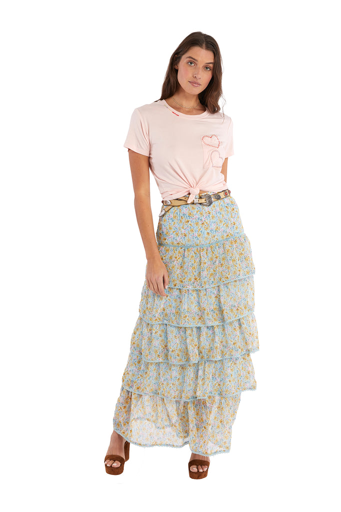 TIERED MAXI SKIRT - BLUE FLORAL