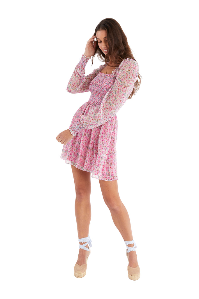 SMOCKED FLORAL MINI DRESS - PINK FLORAL