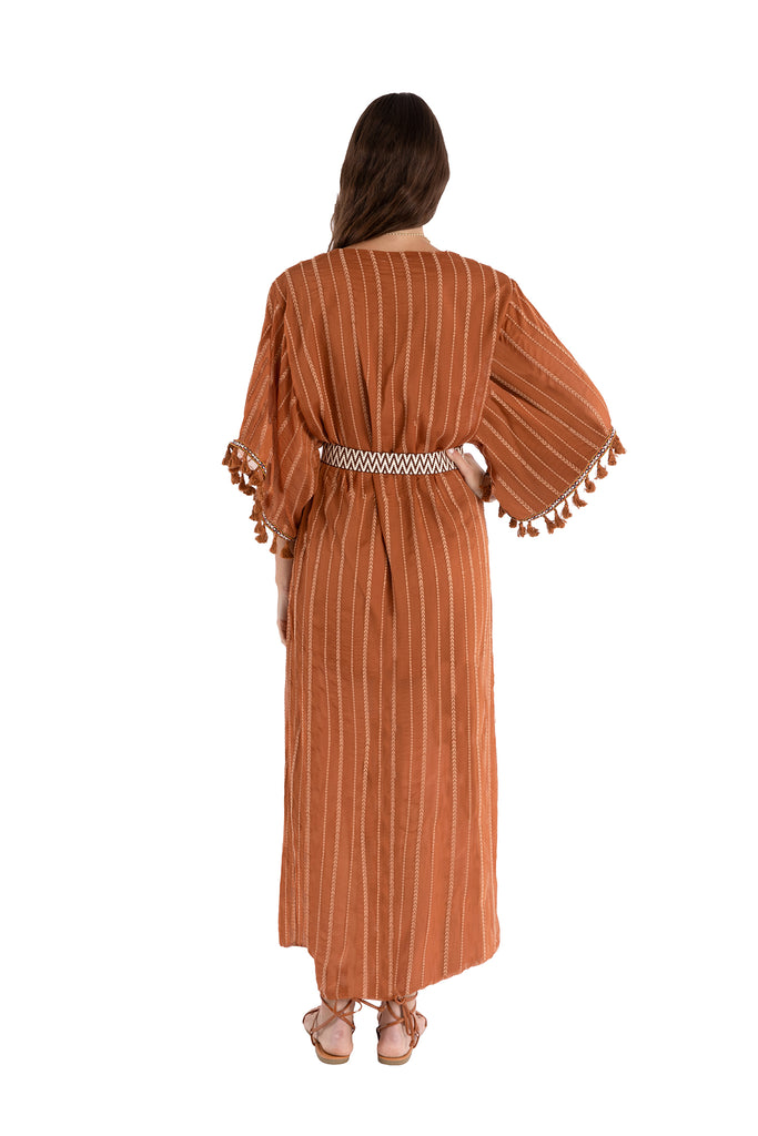 EMBROIDERED KAFTAN - TERRACOTTA