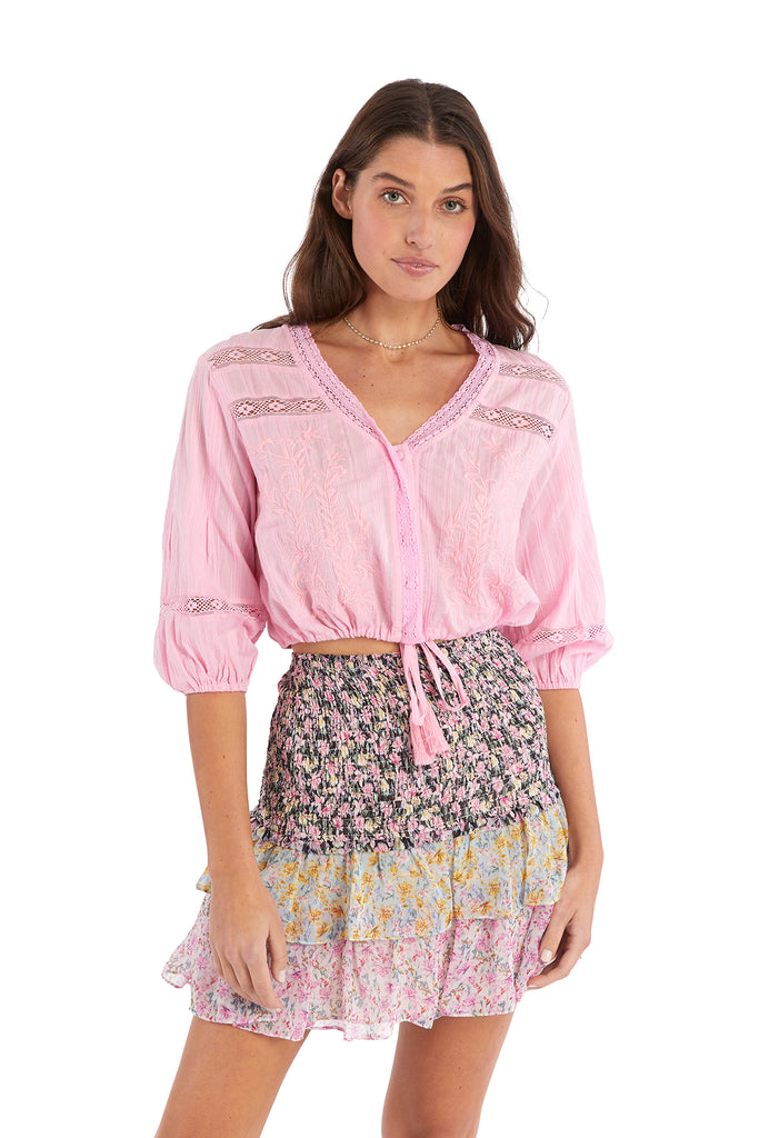 EMBROIDERED CROP BLOUSE - COTTON CANDY PINK