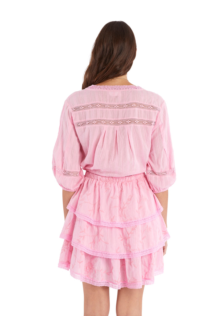 EMBROIDERED TIERED SKIRT - COTTON CANDY PINK