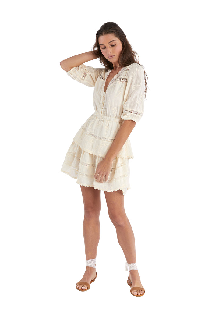 EMBROIDERED TIERED DRESS - IVORY