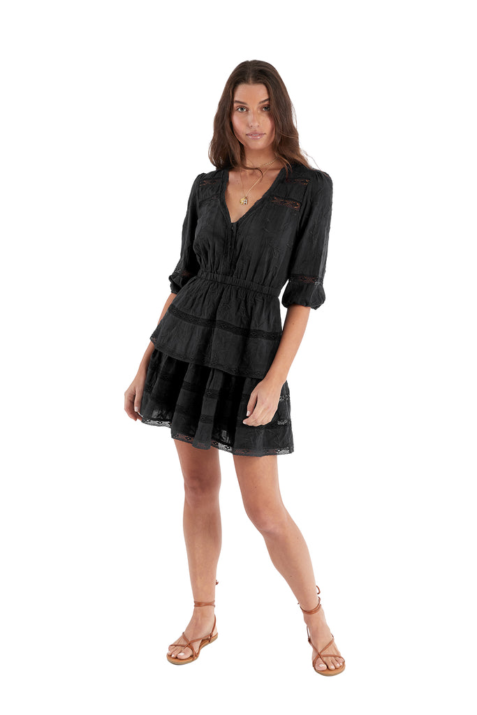 EMBROIDERED TIERED DRESS - BLACK