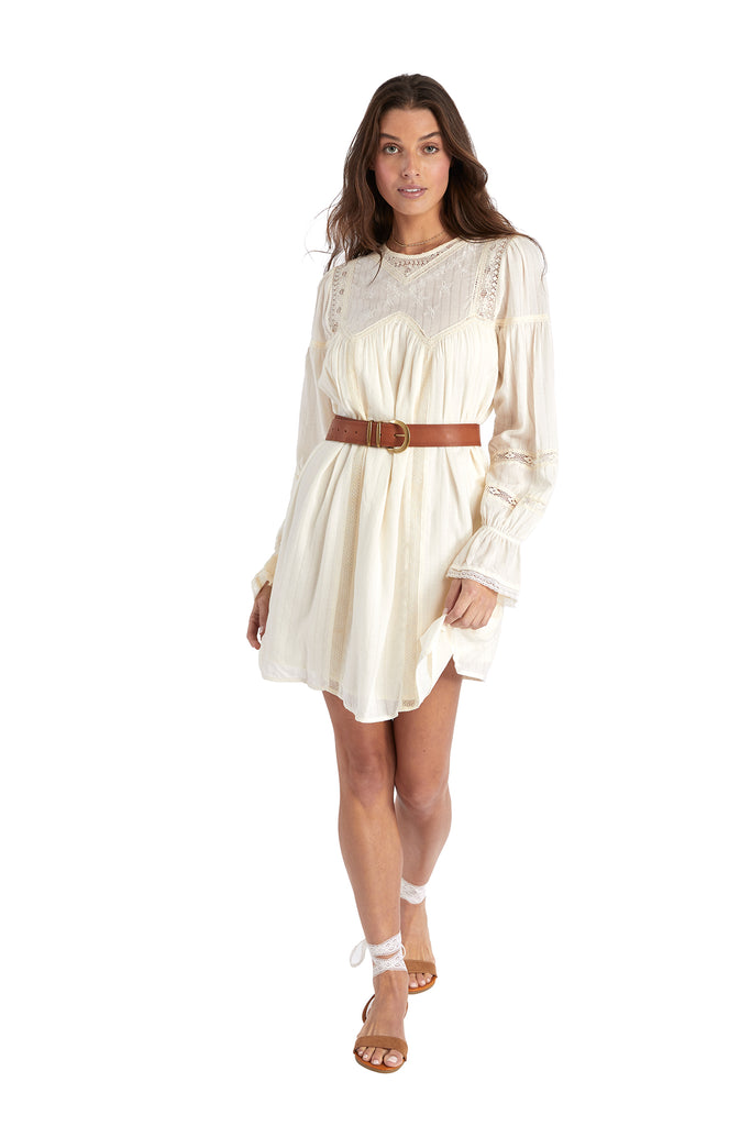 LACE INSERT DRESS - IVORY