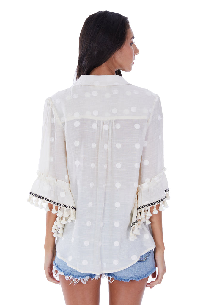 FRINGE TRIM EMBRODIERED BLOUSE