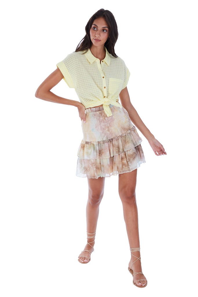TIE DYE SMOCKED MINI SKIRT