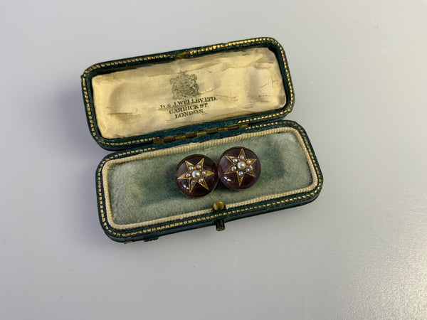 Antique Georgian Amethyst and Pearl Brooch.