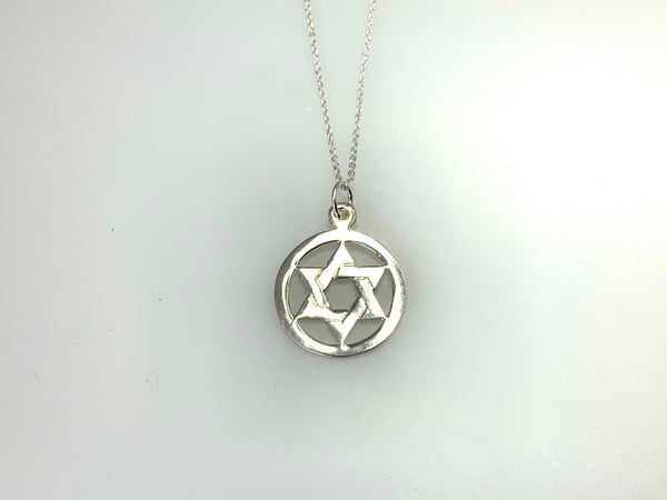 Sterling silver Star of David Pendant.