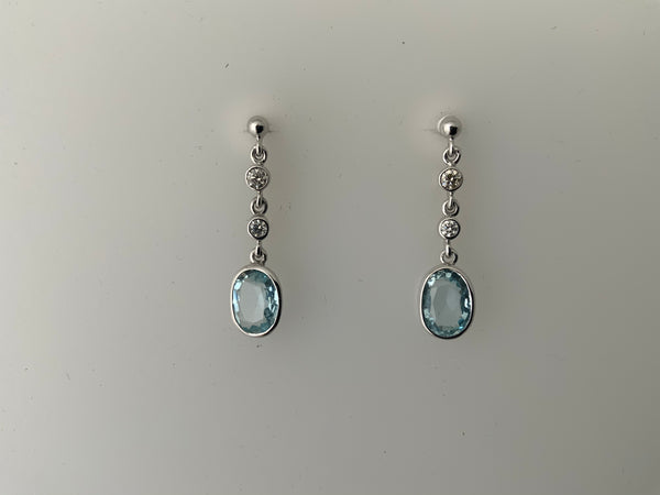 Earrings 18ct set with Diamonds and Aquamarines.