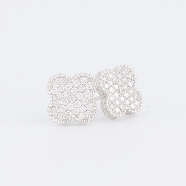 18ct Quatrefoil Diamond Stud Earrings.