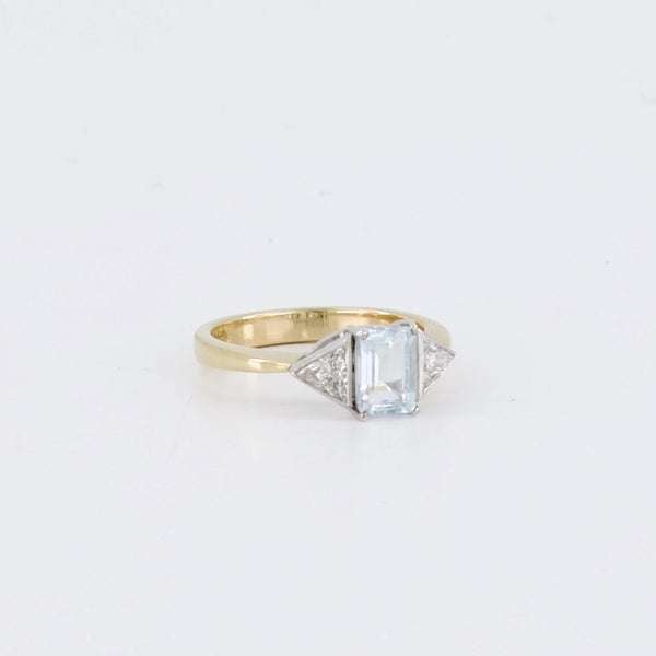 18ct Aquamarine and Diamond Trilliant Three Stone