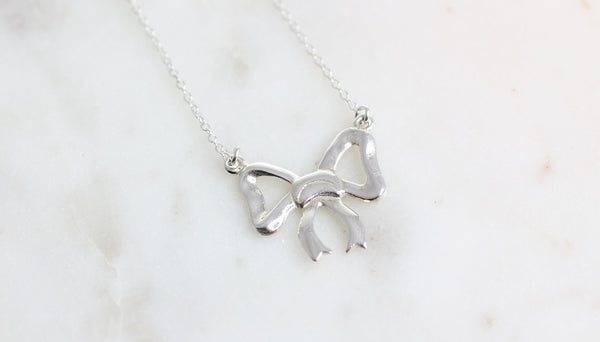 Silver Ribbon Bow Trinket and Chain