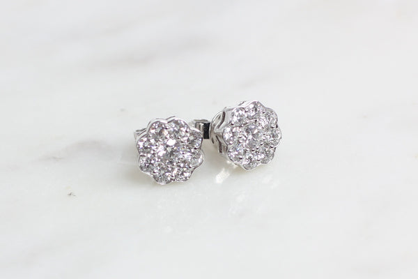 18ct Diamond Cluster Earrings 1.14ct