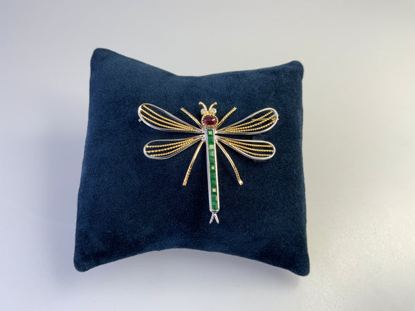 Dragon Fly Brooch, Emerald Ruby and Diamond