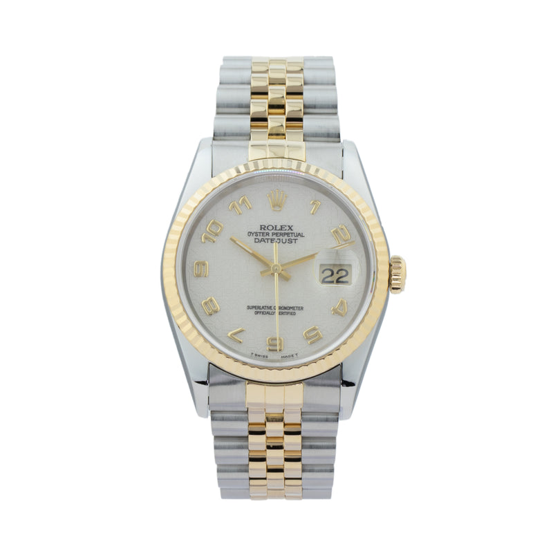 ROLEX DATEJUST 36 16233 TWO-TONE . Brand Rolex Model Datejust 36 Model Number 16233 Gender Mens/Unisex Movement Automatic 3135 Case Size 36mm Wrist Size 7.25 inches Case Material Stainless Steel Bezel 18kt Yellow Gold Fluted Bezel Crystal Sapphire Bracelet Stainless Steel and 18kt Yellow Gold Dial  Ivory jubilee w/Arabic numerals Condition Very Good Approximate Age 1995 - W serial Box Comes with SLW presentation box Paper No Warranty Comes with one year SLW warranty Notes ENTER Notes