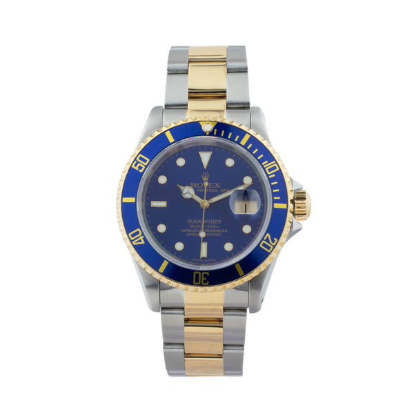 ROLEX SUBMARINER DATE 16613 T TWO-TONE . Brand Rolex Model Submariner Model Number 16613 Gender Men Movement Automatic 3135 Case Size 40mm Wrist Size 8 inches Case Material Stainless Steel Bezel Steel  Crystal Sapphire  Bracelet Stainless Steel and 18kt Yellow Gold Oyster Dial Color Blue Condition Very Good Approximate Age 1994 - S serial Box Comes with SLW presentation box Paper Yes  Warranty Comes with one year SLW warranty Notes ENTER Notes