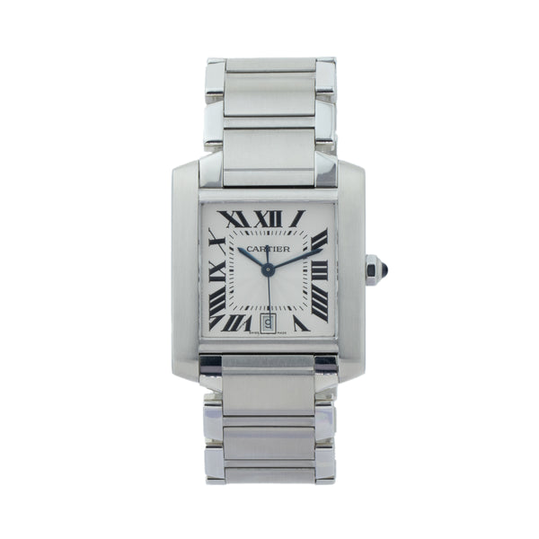 CARTIER TANK FRANCAISE 28MM W51002Q3 . Brand Cartier Model Tank Francaise Model Number W51002Q3 / 2302 Gender Men Movement Automatic Case Size 28mm Wrist Size 7.5 inches Case Material Stainless Steel Bezel Stainless Steel Crystal Sapphire Bracelet Stainless Steel Dial Color Silver Guilloche w/black roman numerals Condition Excellent Approximate Age 2010 - Present Box Comes with SLW Presentation Box Paper No Warranty comes with one year SLW warranty Notes ENTER Notes