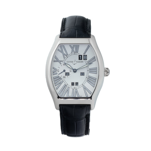 ULYSSE NARDIN LUDOVICO PERPETUAL CALENDAR 18KT WHITE GOLD 330-48 . Brand Ulysse Nardin Model Ludovico Perpetual calendar  Model Number 330-48 Gender Mens/Unisex Movement Automatic Case Size 38X43mm Wrist Size 8.00 inches Case Material 18kt white gold Bezel 18kt white gold Crystal Sapphire Bracelet Black alligator leather strap w/18kt white gold deployant clasp Dial Color Silver/Oyster w/silver roman numerals Condition Very Good Approximate Age 2005 Box Yes Paper Yes-paper dated 05/2005 Warranty Comes with