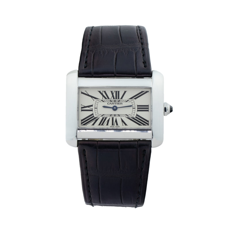 CARTIER TANK DIVAN W6300755 . Brand Cartier Model Tank Divan Model Number W6300755 / 2600 Gender Unisex Movement Quartz Case Size 24 x 38mm Wrist Size 8 inches Case Material Stainless Steel Bezel Stainless Steel Crystal Sapphire Bracelet Black crocodile strap w/deployant buckle Dial  Silver dial Condition Excellent Approximate Age 2010 - Present Box Comes with SLW Presentation Box Paper No Warranty comes with one year SLW warranty Notes ENTER Notes