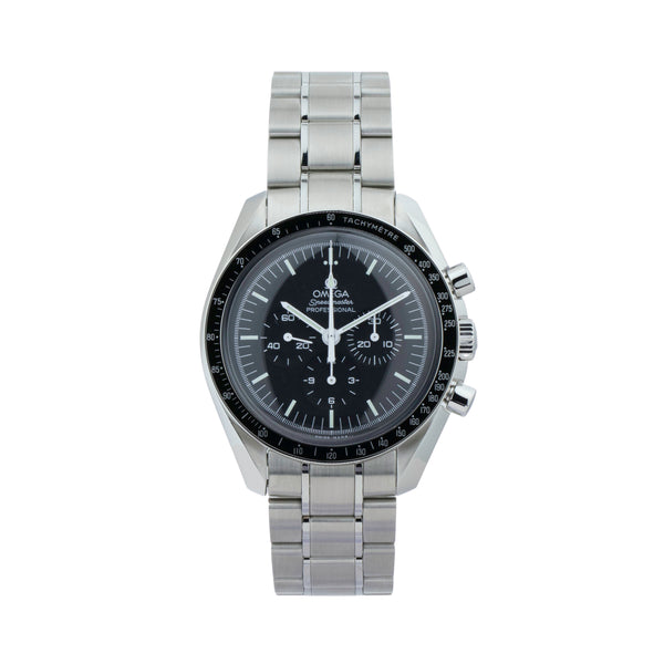 OMEGA SPEEDMASTER PROFESSIONAL MOONWATCH CHRONOGRAPH 311.30.42.30.01.005 . Brand Omega Model Speedmaster Moonwatch  Model Number 311.30.42.30.01.005 Gender Mens Movement Automatic Case Size 42mm Wrist Size 8 inches Case Material Stainless Steel Bezel Stainless steel w/aluminum insert Crystal Hesalite Bracelet Stainless Steel Dial Color Black Condition Unworn Approximate Age 2010 - present Box Yes Paper Yes Warranty comes with one year SLW warranty Notes ENTER Notes